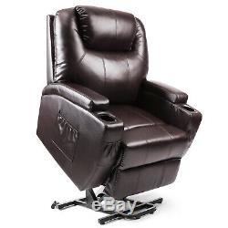 Electric Power Lift Chair Recliner Leather Armchair Wall Elderly Seat Sofa Brown