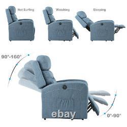 Electric Power Lift Chair Recliner Massage Oversize Heat Sofa Linen For Elderly
