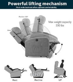 Electric Power Lift Chair Recliner Massage Oversize Heat Sofa Vibration USB Gray