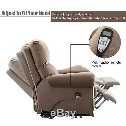 Electric Power Lift Chair Recliner Oversized Massage Chair Heat Vibration Remote