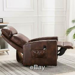 Electric Power Lift Chair Recliner PU Leather Heavy Duty Sofa Ergonomic + Remote