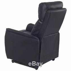 Electric Power Lift Chair Recliner Sofa PU Leather Padded Seat Living Room Black