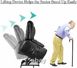 Electric Power Lift Massage Recliner Chair Elderly PU Leather Side Pockets USB