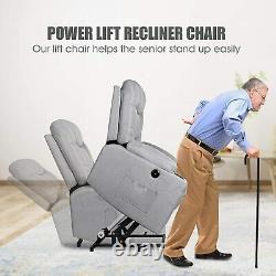 Electric Power Lift Massage Recliner Chair Heat Vibration Control USB Elderly US