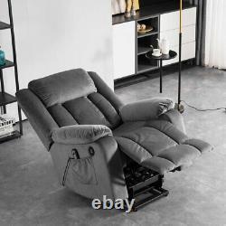 Electric Power Lift Massage Recliner Chair Velvet Armchair Sofa Full Body Lounge