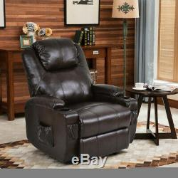 Electric Power Lift Recliner Chair Brown PU Leather Theater Cup Holder Remote