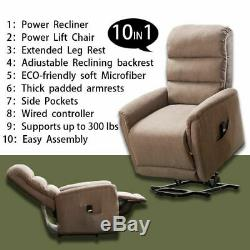 Electric Power Lift Recliner Chair Elderly Armchair Lounge Sofa & Remote Control
