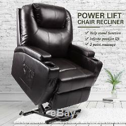 Electric Power Lift Recliner Chair Elderly Armchair withMassage Lounge Seat