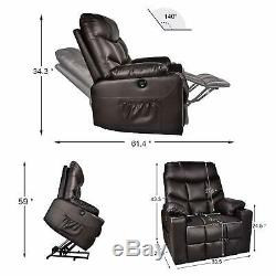 Electric Power Lift Recliner Chair Heated 8 Point Massage Sofa With Remote