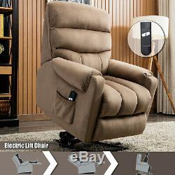 Electric Power Lift Recliner Chair Heavy Duty Frame Safe Motor Overstuffed Sofa