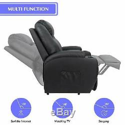Electric Power Lift Recliner Chair Massage Heated Remote Control Leather Black