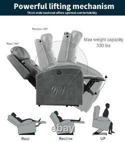 Electric Power Lift Recliner Chair Massage Oversize Heat Sofa PU Remote Control
