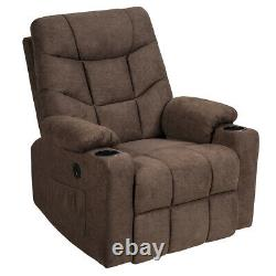 Electric Power Lift Recliner Chair Massage Sofa Fabric with USB Charge Port Brown