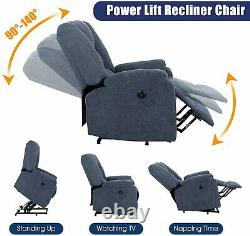 Electric Power Lift Recliner Chair Massage Sofa Heated Vibration for Elderly USB