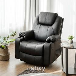 Electric Power Lift Recliner Chair Massage Sofa Leather with USB Charge Port Black