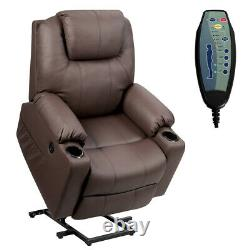 Electric Power Lift Recliner Chair Massage Sofa Leather with USB Charge Port Brown