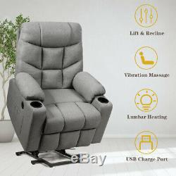 Electric Power Lift Recliner Chair Massage Sofa with USB Charge Port Light Gray