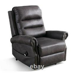 Electric Power Lift Recliner Chair Remote Classic Single Sofa with Nailhead Trim