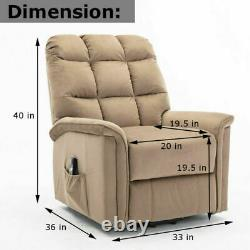 Electric Power Lift Recliner Chair Sofa Bed Lifting Armchair Heavy Suede Brown