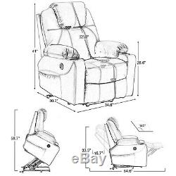 Electric Power Lift Recliner Chair Sofa with Massage and Heat forElderlyUSB Port
