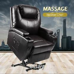 Electric Power Lift Recliner Chair WithMassage Sofa Real Leather Remote Control