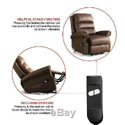 Electric Power Lift Recliner Chair for Elderly Bonded Leather Arm Chair Bedroom