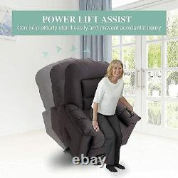 Electric Power Lift Recliner Chair for Elderly Massage and Heat Sofa Brown