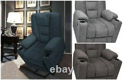 Electric Power Lift Recliner Elderly Extra Wide Thickened Fabric Cup Holder USB