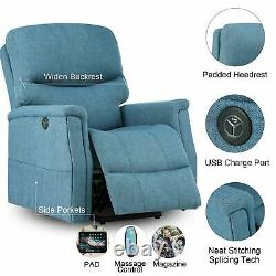 Electric Power Lift Recliner Elderly Massage Chair Blue with USB charging port