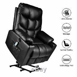 Electric Power Lift Recliner Elderly Sofa Chair Heat Massage Vibration USB Port