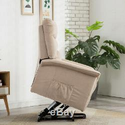 Electric Power Lift Recliner Free Angle Soft Suede Fabric with Remote Controller