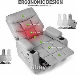 Electric Power Lift Recliner Massage Lumbar Heat Vibration USB Fabric Cup Holder