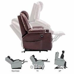 Electric Power Lift Recliner Massage Remote USB Charge Faux Leather Upholstery