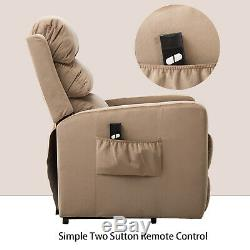 Electric Power Lift Recliner Overstuffed Seat Arm Chair Sofa Fabric Lounge withRC
