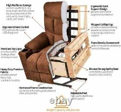 Electric Power Lift Recliner with Massage and Heat, Remote Control, Cup Holders