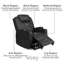 Electric Power Lift Reclining & Heated Massage Chair with Remote Black