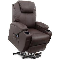 Electric Power Lift Seat Recliner Chair Padded Heat Message Brown Faux Leather