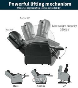 Electric Power Lift Sofa Oversize Auto Massage Recliner Chair withRemote USB