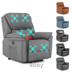 Electric Power Lift Sofa Oversize Leather Auto Massage Recliner Chair withRemote