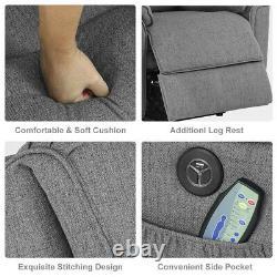 Electric Power Lift Sofa Oversize Recliner Chair Massage Heat Vibrate Linen Gray