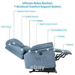 Electric Power Lift Sofa Oversize Recliner Chair Massage Heat Vibrated Linen
