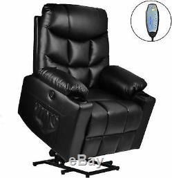 Electric Power Recliner Lift Chair Heated Massage Sofa With Remote Control Black