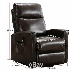 Faux Leather Lift Power Recliner Chair Any Angel 3 Position with RC for Elderly