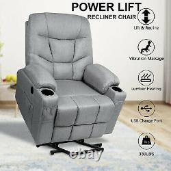 Full Auto Electric Power Lift Recliner Chair Heat Vibration Massage USB Control