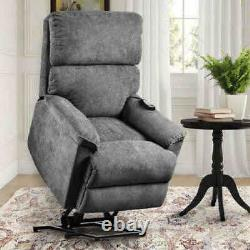 Grey Fabric Covered Power Lift-Recliner PP192721