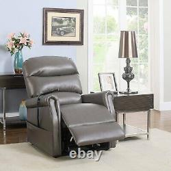Grey Power Lift Chair Recliner Power Lift Recliner Remote Control Bonded Leather