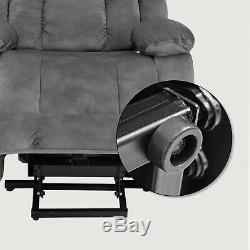Grey Power Lift Electric Massage Chair Recliner Elderly Armchair Heat USB Velvet