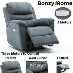Heavy Duty Sofa Auto Electric Power Lift Recliner Chair Velvet Fabric Padded Arm