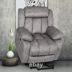 LT Gray Electric Power Lift Recliner Chair Massage Sofa Armchair Overstuffed USB