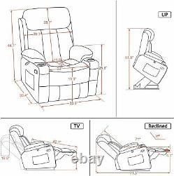 Large Electric Power Lift Recliner Chair Big Tall Elderly Extended Footrest USB